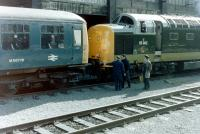 Waverley station's unusual pilot - Deltic no 55002 <I>The Kings Own Yorkshire Light Infantry</I> - shunting a Cravens class 105 DMU on 25 April 1981.<br> <br><br>[Colin Alexander&nbsp;25/04/1981]