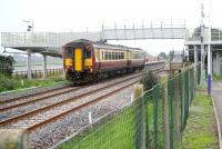 A Carlisle - Glasgow Central service pulls into the new northbound platform at Gretna Green on 27 September 2008. Further work recently completed at the station includes the footbridge ramps which are now operational.  <br><br>[John Furnevel&nbsp;27/09/2008]