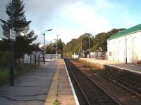View across the level crossing towards Stoke-on-Trent from the platform at Blythe Bridge, which has lost most of its facilities but still has an hourly service on the Derby to Stoke and Crewe line. <br><br>[Mark Bartlett 03/10/2008]