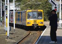An outer circle Tyne & Wear Metro service arrives at Tynemouth on 27 September.<br><br>[Bill Roberton&nbsp;27/09/2008]
