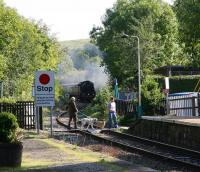 The term <I>'Walkies!'</I> takes on a whole new sense of urgency on the morning of 2 October 2008, as ex-SR class S15 4-6-0 No 825 puts in a sudden and unexpected appearance round the curve east of Sleights foot crossing with a through NYMR service from Whitby to Pickering.<br><br>[John Furnevel&nbsp;02/10/2008]