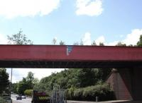 The bridge that carried the line from Jerviston Junction (Mossend) into BSC Ravenscraig, seen spanning Merry Street, Motherwell in October 2008. The bridge has now been removed and shipped to Boat of Garten on the Strathspey Railway. It will eventually carry the SRS extension to Grantown on Spey over the River Dulnain.<br><br>[Mick Golightly&nbsp;27/10/2008]