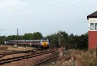 A blue HST set with silver power cars leaves Leuchars for Dundee on 28 September.<br><br>[Brian Forbes&nbsp;28/09/2008]