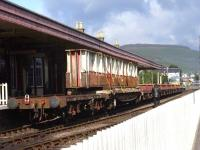 Components of the former Merry Street bridge about to leave Aviemore on the SRS line to Boat of Garten behind a Strathspey Railway class 31 locomotive.<br><br>[Mick Golightly&nbsp;//]