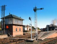 Wide view of the modern Boness station and signal box. To the left of the starting semaphore is a rarely seen reception hanger, onto which the incoming single line token ring is looped by the train crew.<br><br>[Brian Forbes&nbsp;04/10/2008]