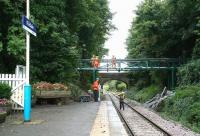 Scaffolding and other equipment being removed following work on the renewal of the footbridge at Kildale on the Whitby branch. View west on 3 October 2008.<br><br>[John Furnevel&nbsp;03/10/2008]