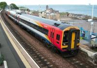 A Waverley bound service, headed by SWT liveried 158 786 calls at Kinghorn on 25 May 2007.<br><br>[David Panton&nbsp;25/05/2007]