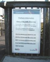 Explanatory notice at Glenrothes with Thornton, necessitated by the unusual arrangements at this station.<br><br>[David Panton&nbsp;05/10/2008]