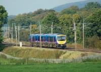 Trans Pennine Express service from Manchester Airport to Edinburgh provided by 185127 heads north between Brock and Garstang & Catterall on the WCML on 12 October 2008.<br><br>[John McIntyre&nbsp;12/10/2008]