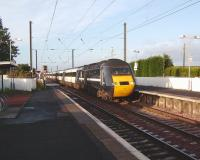 An eastbound HST on the level crossing at Kirknewton on 11 October heading for Waverley.<br><br>[David Panton&nbsp;11/10/2008]