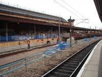 Sunday morning view south along Platform 9 at York, which sits just outside the main trainshed, showing the refurbishment work and the volume of materials piled along the full length of the platform. <br><br>[Mark Bartlett&nbsp;12/10/2008]