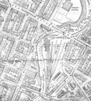 <B>Kelvin Bridge</B> OS of 1913 - original scale 1:2500 - showing Kelvin Bridge Station site. This OS sheet also shows tramcar lines.<br><br>[Alistair MacKenzie&nbsp;14/10/2008]