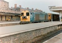 A pair of class 20s led by 20187 passes through Derby station on 15 July 1983.<br><br>[Colin Alexander&nbsp;15/07/1983]