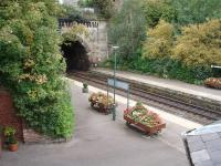 A little <I>TLC</I> at Knaresborough goes a long way with this display of flowers in platform barrows. The station sits in a cutting and this view was taken from the approach road looking down onto the York platform. <br><br>[Mark Bartlett&nbsp;11/10/2008]
