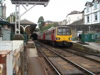 View from the foot crossing at Knaresborough in the York direction through the station towards the tunnel under the town. 144020 has arrived from Leeds and is now waiting to return there via Harrogate. <br><br>[Mark Bartlett&nbsp;11/10/2008]