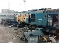 27202 in the process of being cut up at St Rollox Works in June 1981 alongside the remains of a class 26.<br><br>[Colin Alexander&nbsp;27/06/1981]