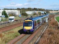 170 428 heads south past the site of Elliot Junction station on 16 October 2008 with an Aberdeen - Glasgow Queen Street service.<br><br>[Sandy Steele&nbsp;16/10/2008]