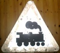 Level crossing sign on removed line at Ardrossan from the days of steam.<br><br>[Alistair MacKenzie&nbsp;17/10/2008]