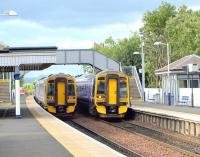 View north at Dalmeny in September 2008 with class 158 dmus passing.<br><br>[Brian Forbes&nbsp;/09/2008]