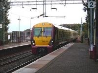 334 015 draws into Langbank on 15 October with an all stations Glasgow-Gourock service.<br><br>[David Panton&nbsp;15/10/2008]