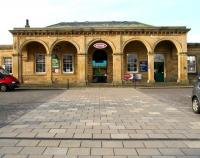 The arched portico over the main entrance to Whitby station, seen looking west from the car park on 2 October 2008. Opened in June 1847 as Whitby, the name was changed to Whitby Town in 1883. It reverted to plain Whitby in 1938 but was then changed back once again to Whitby Town in 1951. Since then it has been changed yet again to Whitby, the name by which it is officially known at the present time (Monday, 2.30pm).<br><br>[John Furnevel&nbsp;02/10/2008]