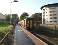 A class 156 unit stands at the terminus at Paisley Canal between turns on 15 October 2008 prior to returning to Glasgow Central.<br> <br><br>[John McIntyre&nbsp;15/10/2008]