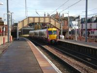 A Glasgow Central - Largs service formed by 334 025 runs into Saltcoats on 15 October 2008.<br><br>[David Panton&nbsp;15/10/2008]