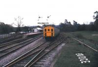 The branch train for Tunbridge Wells West leaves the bay platform at Eridge in March 1985. The branch closed later that year and is currently in the hands of the Spa Valley Railway who plan to reintroduce a regular service over its full length in the longer term.<br><br>[Ian Dinmore&nbsp;22/03/1985]