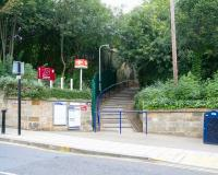 With the old S&D station now a museum, the 2008 entrance to the remaining operational platform at North Road is in McNay Street to the south of the station (with North Road itself running just off to the right). The steps ascend alongside the east wall of the old Stockton & Darlington Railway goods shed (which is now used by the Darlington Railway Preservation Society). [See image 18928]<br><br>[John Furnevel&nbsp;04/10/2008]