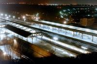 Night scene looking over Durham station in 1985.<br><br>[Colin Alexander&nbsp;//1985]