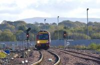 The 1148 Edinburgh to Bathgate service formed by an SPT <i> Turbostar </i> crosses from the new down line onto the up line and toward the platform at the current Bathgate station on 22 October. <br><br>[James Young&nbsp;22/10/2008]