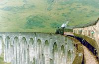 Crossing Glenfinnan Viaduct in the Summer of 1990 behind Stanier Black 5 no 5407.  <br><br>[Colin Alexander&nbsp;//1990]