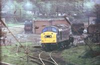 A Class 40 drops off empty mineral wagons in the Leyland scrap sidings and will attach the loaded wagons to its train waiting in the station [See image 21231]. In the background an industrial shunter can be seen but for many years it did not move. The former goods yard closed in the l980s and is now covered by housing.<br><br>[Mark Bartlett&nbsp;/04/1981]