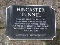 Plaque at the western entrance to the Hincaster canal tunnel, disused since around 1947 although there are formative plans to reopen the section of canal north of Carnforth.<br><br>[Mark Bartlett&nbsp;01/11/2008]