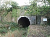 When the Lancaster and Carlisle Railway had to cross the northern section of the Lancaster Canal the Hincaster canal tunnel was conveniently situated to carry the line on up to Oxenholme. This is the western portal of the disused structure. SD 509851<br><br>[Mark Bartlett&nbsp;01/11/2008]