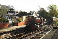 Scene at Lakeside on 18 October 2008. Standing at the platform is L&HR locomotive No 1 <I>David</I> (ex-Millom Gasworks Barclay 0-4-0ST 2333 of 1953) about to take charge of a train for Haverthwaite. <br><br>[Peter Todd&nbsp;18/10/2008]