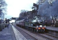 GNSR No 49 stands at Harburn with the Scottish Rambler railtour on 19 April 1965. This seldom photographed rural station, on the Caledonian Edinburgh - Carstairs route, closed the following year. It had originally opened as West Calder & Torphin in 1848, with the name change to Harburn taking place in 1869. <br><br>[G W Robin&nbsp;19/04/1965]
