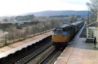 A class 27 arrives at Carrbridge station with a train from Inverness in the early spring of 1981.<br><br>[John Williamson /03/1981]