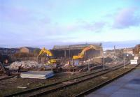 View from the platforms at Arbroath on 4 November as demolition work gets underway on the buildings in the former goods yard to the west of the station.<br><br>[Sandy Steele&nbsp;04/11/2008]