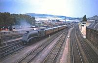 A4 No 60024 <I>Kingfisher</I> approaching Perth with a Glasgow to Aberdeen train in the Summer of 1965.<br><br>[G W Robin&nbsp;28/08/1965]