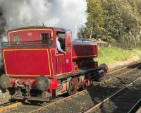 Lakeside and Haverthwaite Railway locomotive No 1 <I>David</I> at Lakeside on 18 October 2008. <br><br>[Peter Todd&nbsp;18/10/2008]