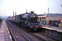 Black 5 no 44698 arrives at Cumbernauld station in August 1965 with a train for Glasgow.<br><br>[G W Robin&nbsp;03/08/1965]