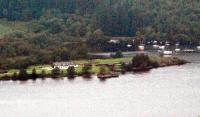 The Fort Augustus Pier station and pier viewed across Loch Ness from the slopes of the Borlum Hill. This station closed in 1906. It rejoiced in a sign saying simply <i>Pier</i>.<br><br>[Ewan Crawford&nbsp;21/09/2008]