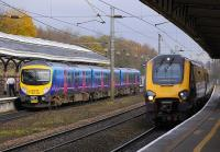 FTPE Manchester Airport-Newcastle and ArrivaXC services pass at Durham on 8 November 2008.<br><br>[Bill Roberton&nbsp;08/11/2008]