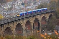 A Newcastle Central - Manchester Airport FTPE service runs south over Durham Viaduct on 8 November 2008.<br><br>[Bill Roberton&nbsp;08/11/2008]