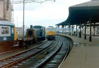 A near miss as station pilot 03094 shunts a DMU and comes perilously close to having an argument with a class 47 at the west end of Newcastle Central in 1983.<br><br>[Colin Alexander&nbsp;//1983]