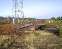 The turntable at Perth New Yard in October 2008, photographed looking north. When installed this was a state-of-the-art turntable, whether electrically powered or turned by conventional handle. By the 1980s nothing worked except by pushing, although by then it was used mainly for turning on-track machines.<br><br>[Gary Straiton&nbsp;/10/2008]