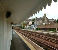 View south from below the canopy of the condemned waiting shelter on the up platform at Kinghorn on 28 May 2007.<br><br>[David Panton&nbsp;28/05/2007]