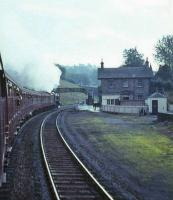 60532 <I>Blue Peter</I> with the <I>A2 Farewell</I> railtour passing through Gorebridge on 8 October 1966 on its way to Carlisle via the Waverley Route.<br><br>[G W Robin&nbsp;08/10/1966]