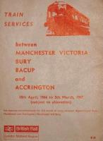 <I>Timetable subject to alteration - and how!</I> On 5th December 1966 most of the services in this timetable ceased and many of the lines involved closed completely. The Accrington services ran via Helmshore to Stubbins Junction, and beyond Bury to Manchester via Clifton Junction. Services from Bacup that did not terminate at Bury Bolton St continued to Manchester via Heywood and Moston so, with the electric line, Bury had three through routes to Manchester. Perhaps the most remarkable feature of the timetable is that, until the day of closure, Bacup enjoyed a twice hourly service to Bury on weekdays increasing to every 15 minutes on Saturdays.  Once the line had been cut back to Rawtenstall there was a single DMU stabled at Bury shuttling to Rawtenstall and back a mere 12 times a day Monday to Saturday and of course that service ceased w.e.f. 5th June 1972.<br><br>[Mark Bartlett&nbsp;05/12/1966]